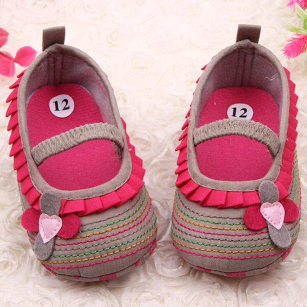 0-12M Sweet Newborn Baby Girls Flower Ruffled Shoes Toddler Soft Bottom Kids Crib First Walkers