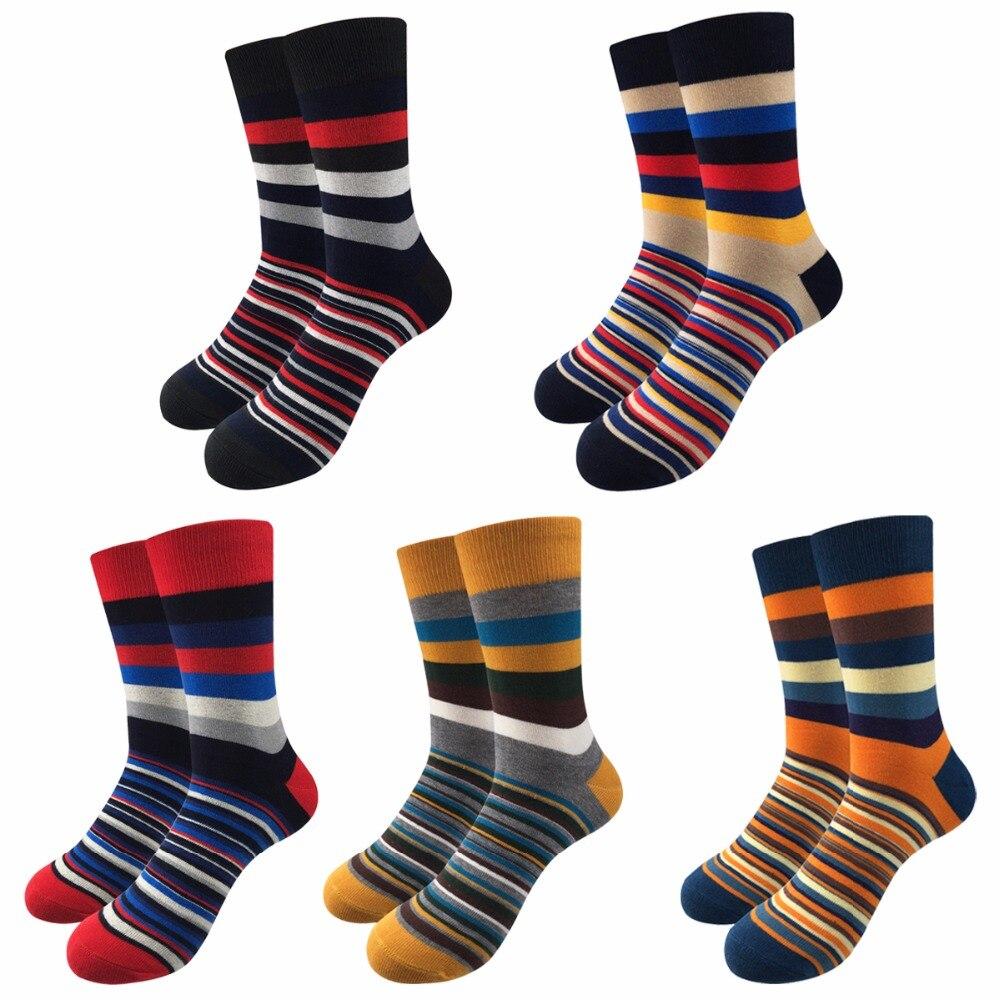 Fashion Elegant Striped Mens Socks Male Casual Colorful Cotton Socks Men Brand Happy Socks For Men Harajuku Sox/5Pairs