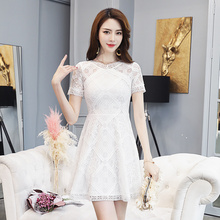 EAD Vintage White Hollow Out Lace Dress 2019 New Short Sleeve Slim Women Dresses High Waist a Line Summer Ladies Vestidos