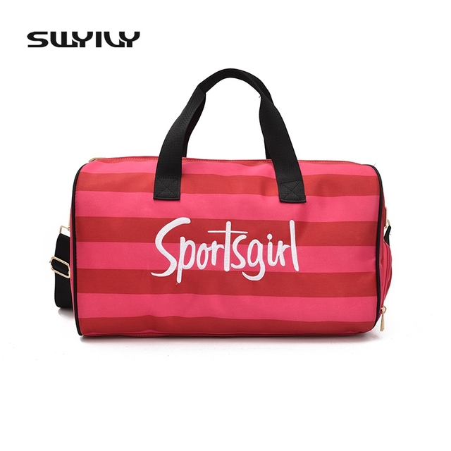 SWYIVY Large Women Sport Bags Girls Fitness PU Waterproof Training Gym With Independent Warehouse