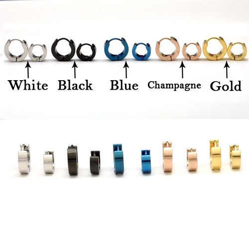 1PC מגניב גברים של טיטניום פלדת עגול עגיל עגיל 5 צבעים זמין