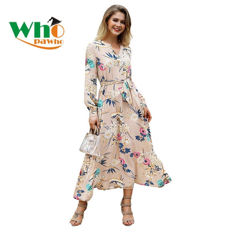 Autumn New Women's Long Dress European American Holiday Style Print V - neck Long Sleeve Belt Dresses