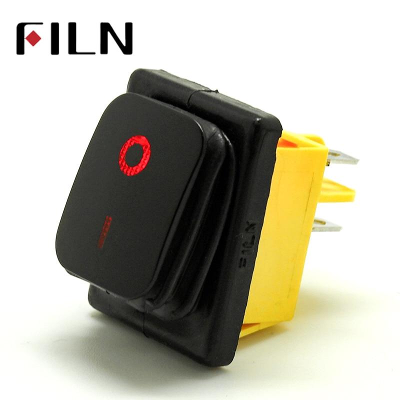 30A/250V 16A/250V heavy duty 4 pin  t85 sealed waterproof ON OFF rocker switch with led 12V 24V 110V 220V 380V Black Painting|Switches|   -
