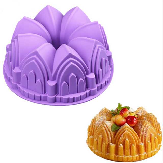 Novelty Big Crown Castle Silicone Cake Mold 3d Birthday Cake Pan
