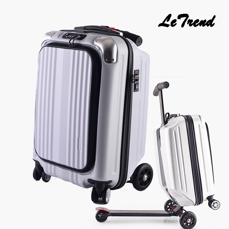 LeTrend Micro Scooter Skateboard Rolling Luggage Trolley Men Business Suitcase Wheels Travel Duffle Student Cabin Trunk 6 5 adult electric scooter hoverboard skateboard overboard smart balance skateboard balance board giroskuter or oxboard