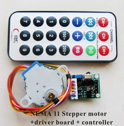 4-phase 5-wire NEMA 11 Stepper Motor+Driver Board+Remote Controller RC Multifunctional CW/CCW Running Speed Adjustable