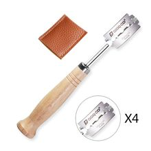 Специальный изогнутый дугой нож для хлеба с деревянной ручкой 4 шт. сменные лезвия Западный багет для резки французского бублика для тостов