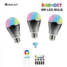 RGB+CCT LED Smart bulb 2.4GHz wireless 9W led with 6-zone remote control WW/CW dimmable E27 RGBW