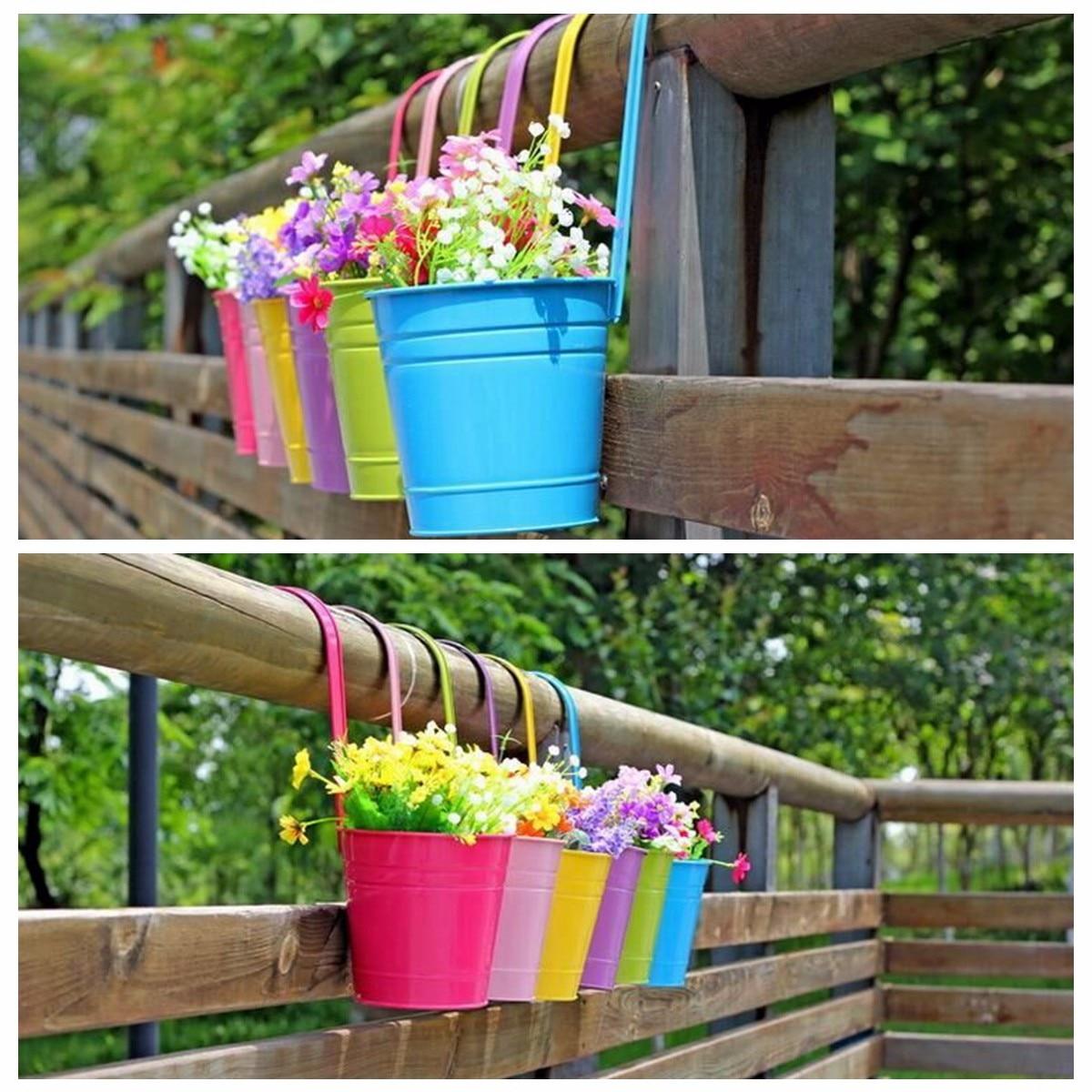 10pcs Multi Color Metal Iron Flower Pot Hanging Balcony