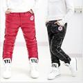 2015 Новых девочек и мальчиков зима ветрозащитный брюки детские теплые плюс бархат и вниз брюки сгущаться дизайн розничная