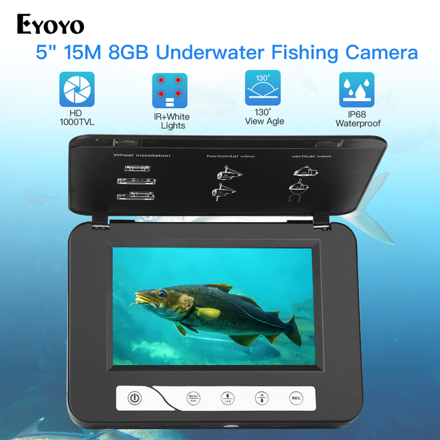 "Eyoyo EF15R 5"" Inch 15M 30M 1000TVL Fish Finder Underwater Fishing Camera 4pcs Infrared+2pcs White Leds  For Ice/Sea"
