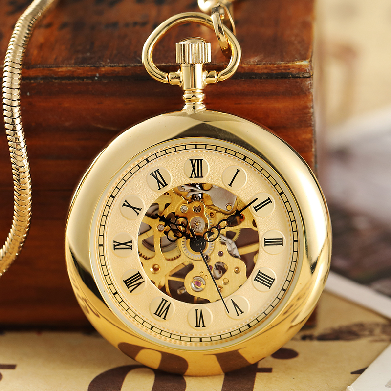 Retro Luxury Gold Smooth Mechanical Pocket Watch fob Chain Roman Dial Hand Wind Steampunk Hand Wind Pocket Watch Male Clock Gift outdoor mf 13 56mhz weigand 26 door access control rfid card reader with two led lights