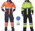 Alta visibilidad chaqueta y pantalón de los hombres chaqueta de traje de los hombres de trabajo de seguridad de orange y amarillo traje de pantalón de carga