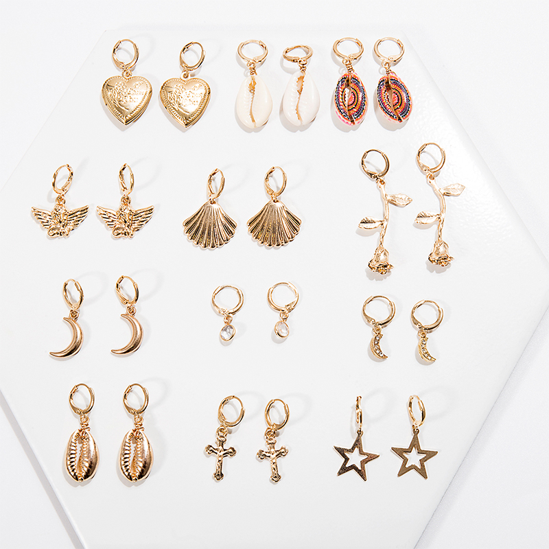 Fashion Women Simple Drop Earrings Summer Boho Jewelry Handmade Natural Sea Shell Flower Star Heart Moon Earrings For Girls 2019