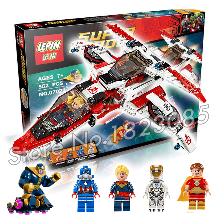 552pcs 07022 Captain America Bela Marvel DC Comics Avenjet Space Mission DIY Building bricks Minifigures Compatible