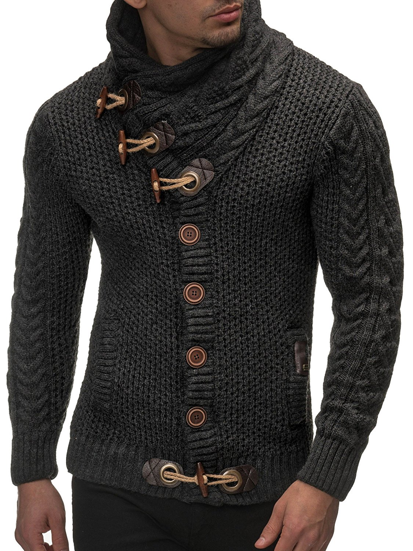 Cardigan Slim Horns Buckle Thick Hedging Turtleneck Men'S Sweater 1