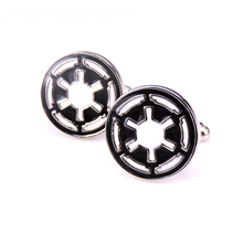 C-MAN French Star Wars Galactic Empire Logo Wedding Cufflinks For Mens And Women Enamel Brand Cuff Buttons Wholesale Cuff Links