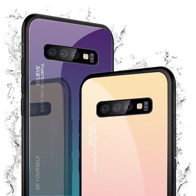 Color Case For Samsung Galaxy S10 S10e A9 A7 A8 A6 Plus 2018 A7 A5 2017 J8 J4 J6 Plus S9 S8 Plus Note 8 9 S Tempered Glass Cover 5