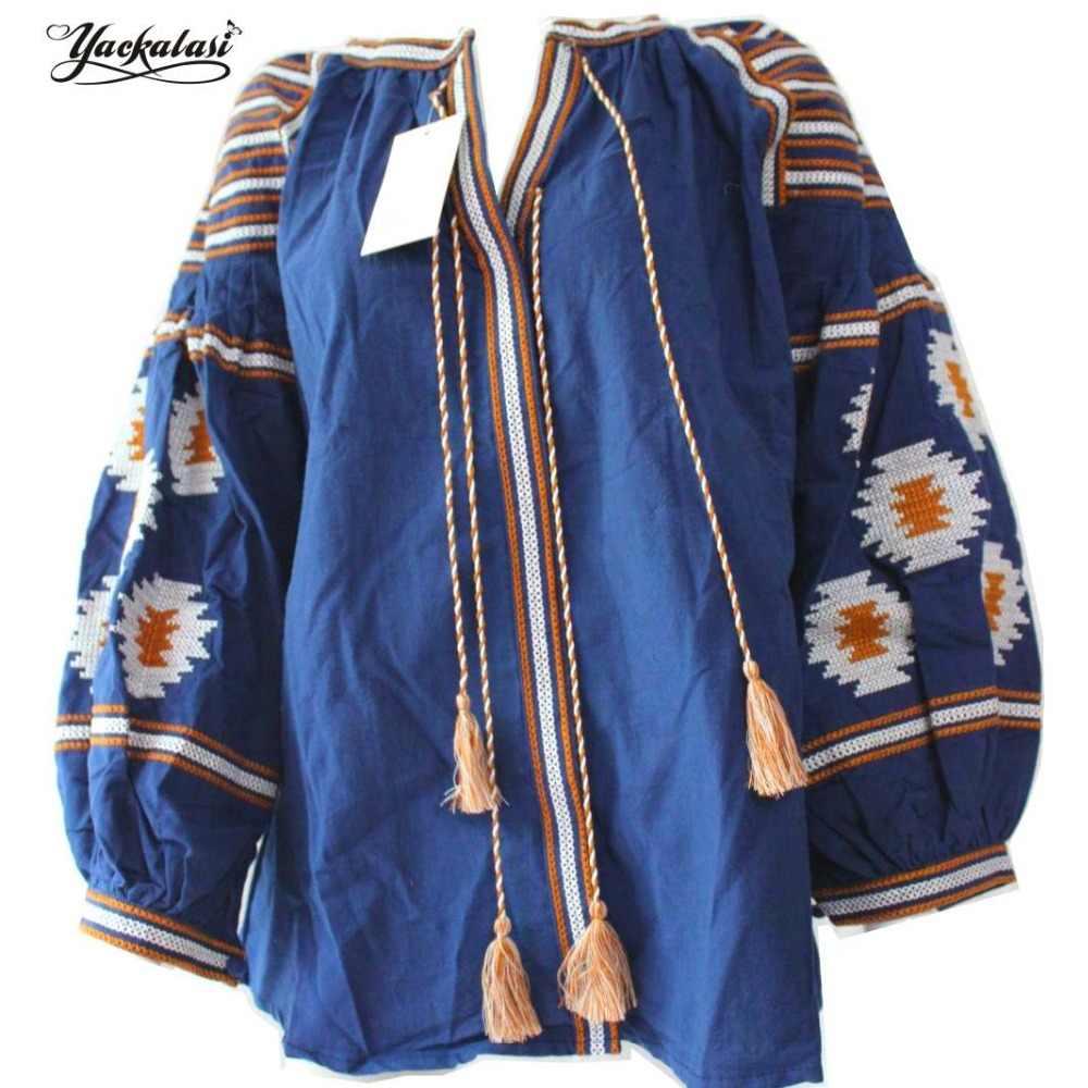 YACKALASI богемные блузки женские топы темно-синий элегантный Бохо вышитый фонарь рукав кисточки свободный v-образный Вырез один размер