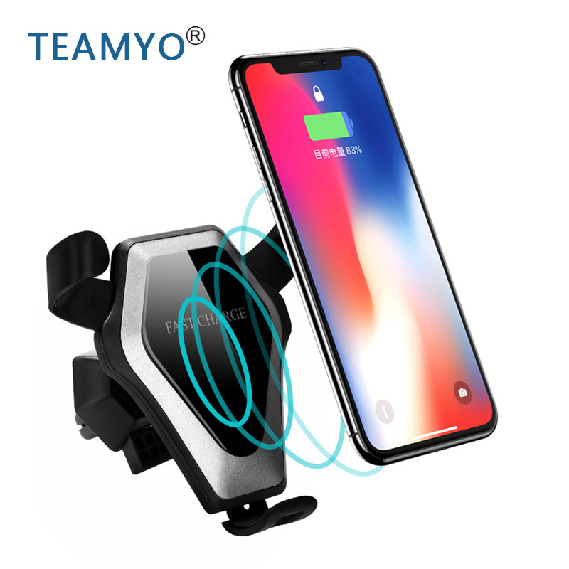 Car Holder Stand Wireless Charger for iPhone X 8 Plus Alloy Qi Gravity Wireless Car Charger Holder for Samsung Galaxy S8 S9