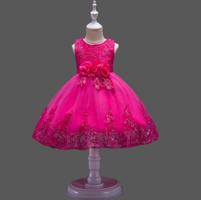 Children's floral lace performance tank dress girls lovely one piece dancing dress Family Matching Outfits R493