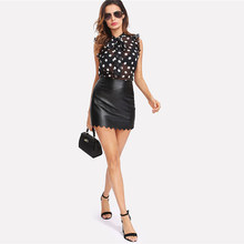 Fashion Ruffle Tied Neck Bow Polka Dot Blouse Women Stand Collar Sleeveless Top  2018 Summer Sheer Night Out Blouse +- 52291114b577
