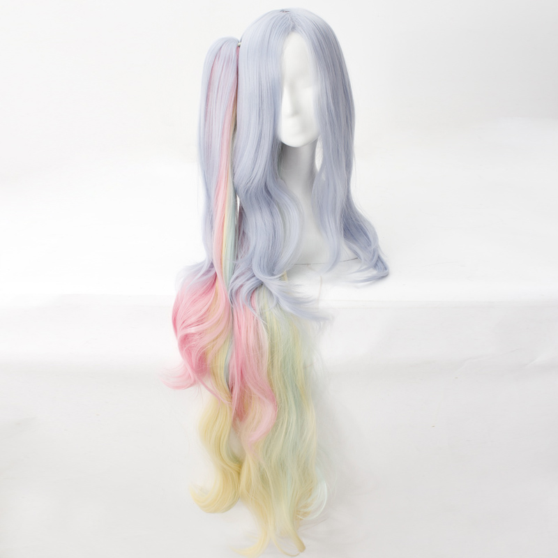 NO GAME NO LIFE Shiro Cosplay Wig Long Curly Wavy Synthetic Hair Anime Costume Party Blue Pink Yellow Mixed Claw Clip Ponytail