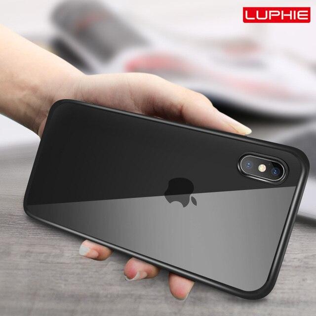 LUPHIE Trường Hợp Trong Suốt Cho iPhone X XS Max XR 8 7 Cộng Với Chống Sốc Trường Hợp Rõ Ràng Bìa Cho iPhone 7 8 cộng với XS Sang Trọng Silicone Trường Hợp
