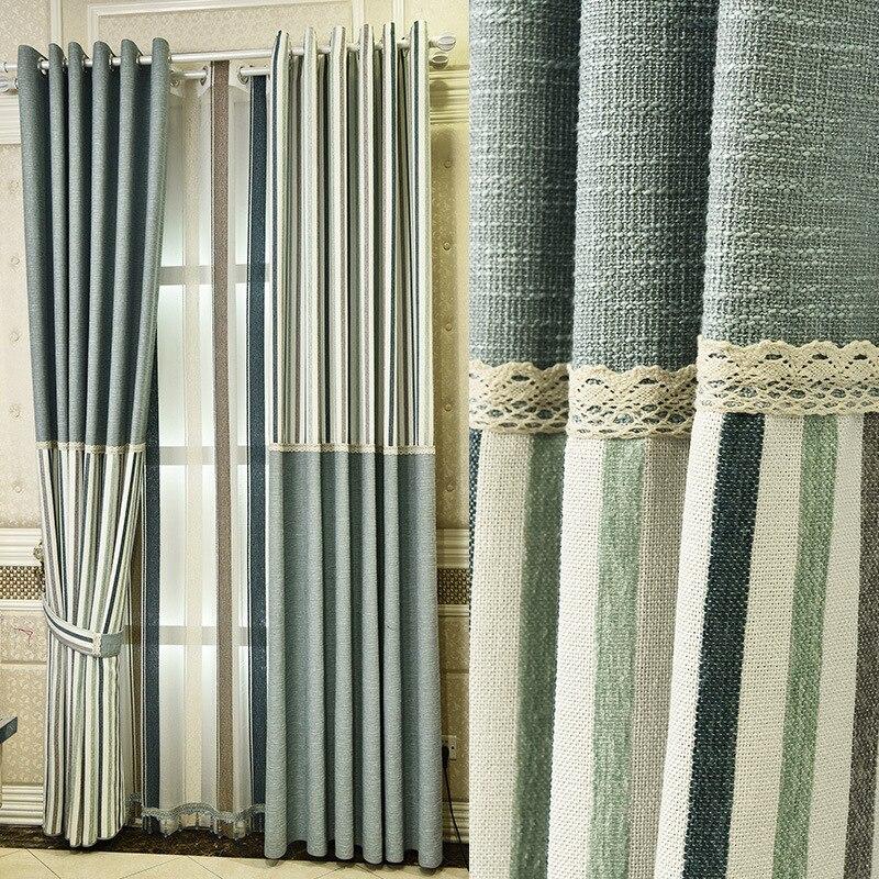 Nouveaux rideaux occultants en lin sur mesure pour salon chambre rayé tissus écologiques matériau en tissu naturel