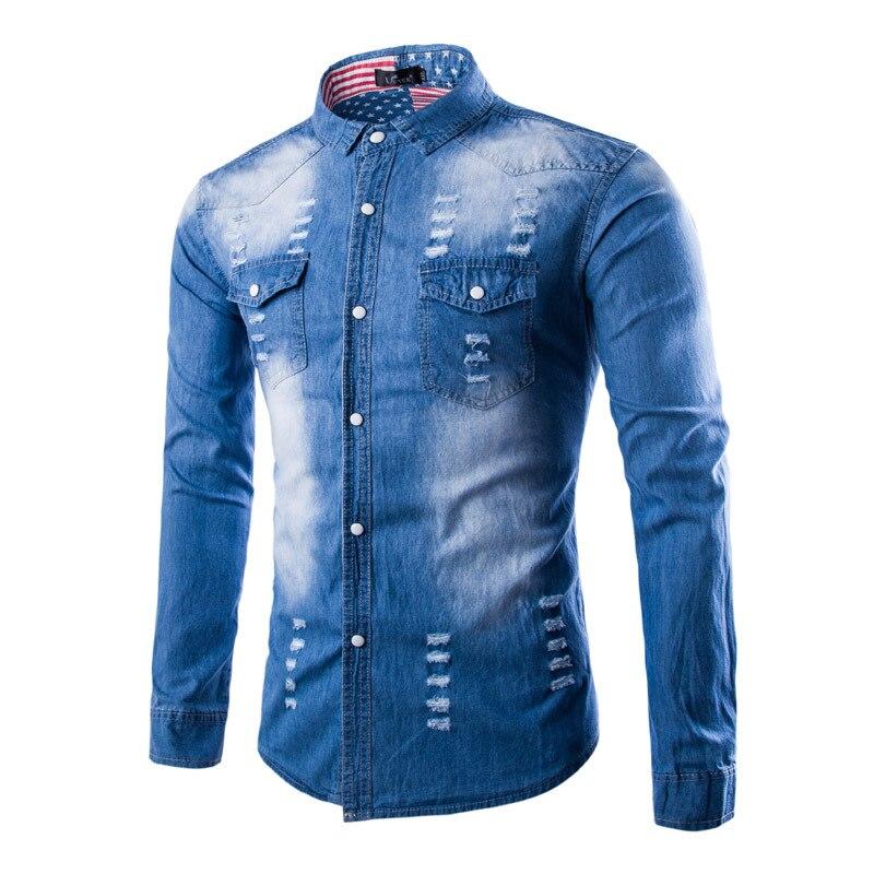 Korean Denim font b Shirt b font 2016 New Arrival Pocket Design chemise homme font b