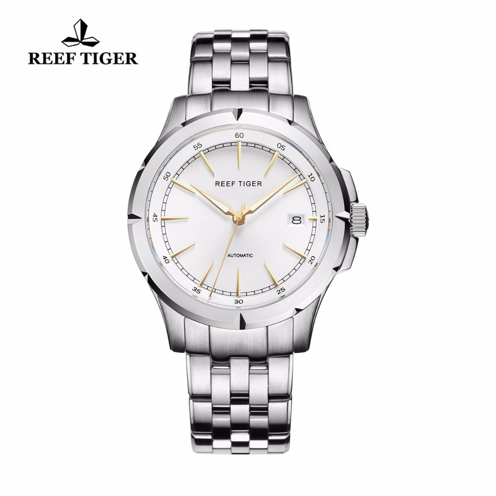 Reef Tiger RT Watches New Arrival Business Dress Watches Automatic Date Mens Full Steel Luminous Watches