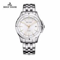 Риф Тигр/RT часы новое поступление платье в деловом стиле часы Автоматическая Дата мужские полный Сталь светящиеся часы RGA819