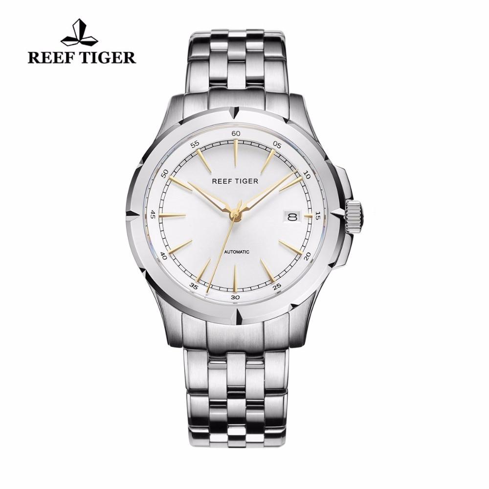 리프 타이거/rt 시계 새로운 도착 비즈니스 드레스 시계 자동 날짜 망 전체 철강 빛나는 시계 rga819-에서기계식 시계부터 시계 의  그룹 1