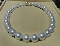 Hot sell Noble hot sell new Huge 18 13 16mm Natural South Sea genuine white round nuclear pearl necklace AAa+