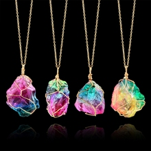 NEW Rainbow Stone Pendant Necklace Fashion Crystal Chakra Rock Gold Color Chain Quartz for Women Gifts