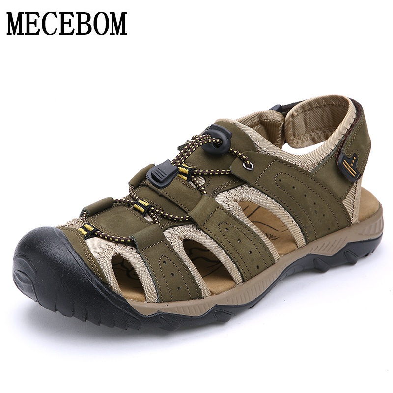 Summer plus size 38-47 men genuine leather sandals men casual shoes hook-loop sandals high quality zapatos 2028M