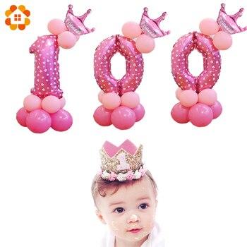1 set FAI DA TE Rosa e Blu Numero Palloncini Buon Compleanno Palloncino di Compleanno Per Bambini/Anniversario Decorazione Del Partito Del Bambino Doccia Favori palloncini