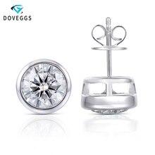DovEggs Sterling Bezel Set 4CTW 8mm Gray Moissanite Stud Earrings for Women and Men Platinum Plated Silver Earrings Push Back