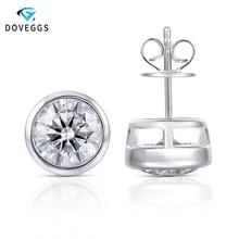 DovEggs Sterling Bezel Set 4CTW 8mm Gray Moissanite Stud Earrings for Women and Men Solid 925 Silver Push Back