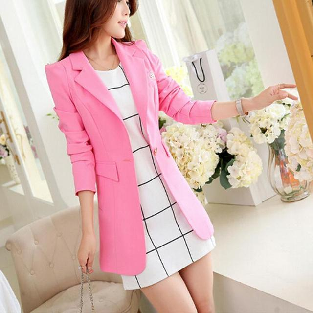 2016 New Women Fashion Spring Autumn One Button Long Suit Elegant Women Blazer Female Jacket H5E8K40