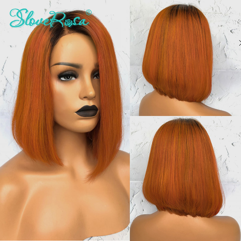 T1B Orange Ombre Human Hair Wigs Black Roots Cut Short Bob Wigs Middle Part Natural Hairline