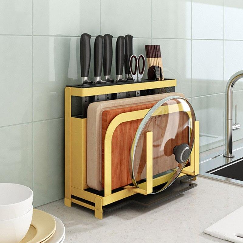 Metal Iron Knife Block Cutting Board Chopper Hoder Kitchen Rack Storage Organizer Products Accessories Supplies