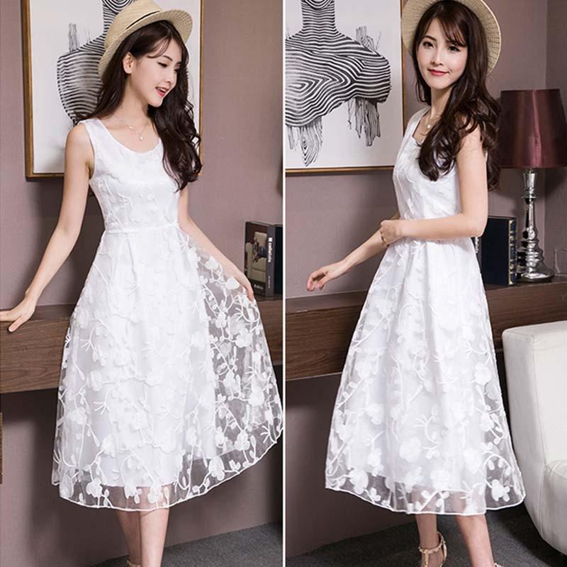 Женское белое кружевное платье, Сетчатое элегантное OL дамское платье без рукавов длиной до колена, Сетчатое платье, весенне-летнее платье д...
