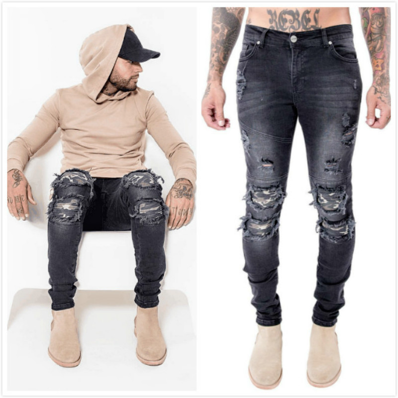 New High Quality Biker Men Jeans Distressed Designer Hip Hop Skinny Rock Red Ripped Elastic Punk Hole Motorcycle Black Pants 2017 new hiphop men hole jogger pants high quality casual destroyed skinny ruched jeans hole casual pants jogger rock jeans