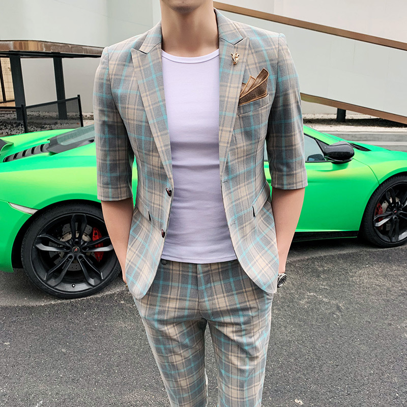 Summer Fashion 2 Pieces Suit Men Plaid Business Casual Slim Fit Wedding Groom Suits Terno Party Tuxedo Suits (jacket+pant)