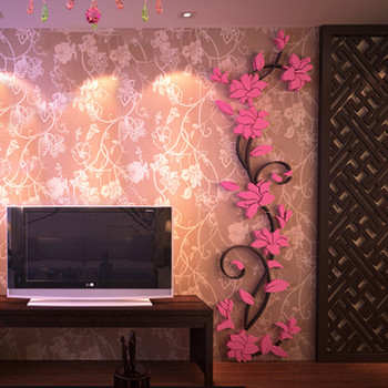 3D Acrylic Wall Sticker DIY Rose Flower Vine Wall Decals Mural Art Wallpaper Home TV Sofa Background Wall Poster Decoration 11