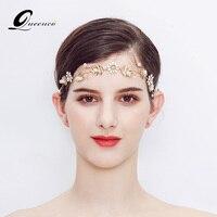 Golden Leaf Bridal Headbands Wedding Hair Accessories Floral Tiara Bride Hair Jewelry Women Hairband Party Headpiece