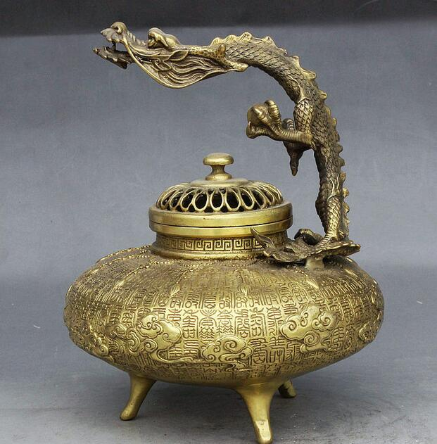 Marked China Dynasty Brass Dragon Dragons longevity Statue Incense Burner Censer 06.08|censer burner|censer incense burner|censer incense - title=