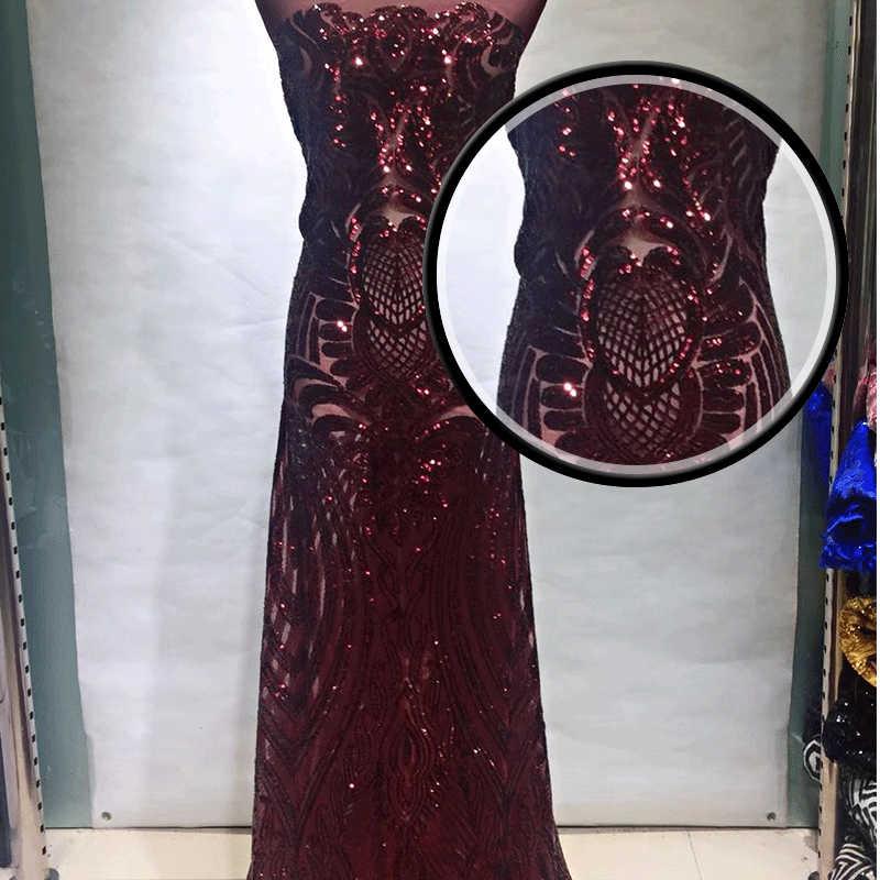 Оптовая продажа блестки кружевная ткань Лучшее качество последние африканские тюль кружева пайетки ткань для рождественских свадебных платьев GZ6568Wine
