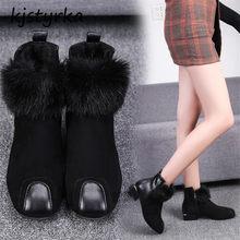 50d1f6bd57 Kjstyrka furry botines mujer 2018 simples inverno quente de alta qualidade  mulheres moda botas com zíper